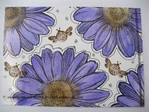 glossy cardstock covered with Stampendous Jumbo Daisy Stamps