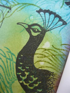 Chocolate Baroque Tangled Peacock Stamp