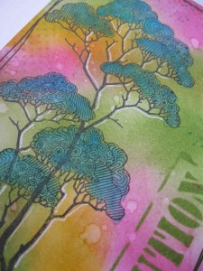 Chocolate Baroque Patchwork Trees Stamp