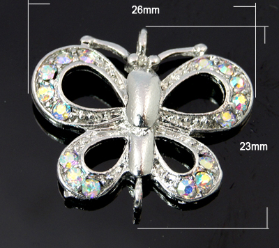 Alloy Rhinestone Pendant/Charm - AB Crystal Butterfly (single)