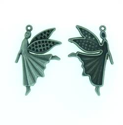 Angel Charm Steampunk style in antique silver finish - pack of two