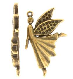 Angel Charm Steampunk style in brass finish - pack of two