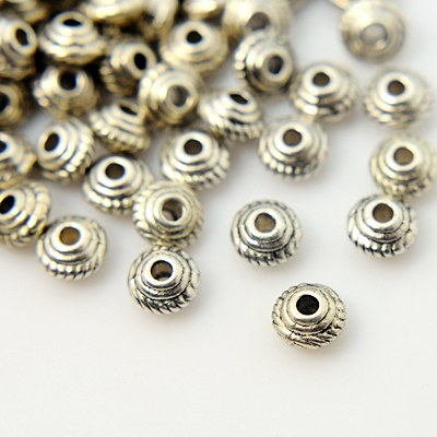 Antique Silver Tibetan Silver Spacer Beads (5mm) - Flat Round - Pack of 25