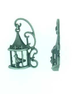 Bird in cage Steampunk style in antique silver finish (Pack of 2)