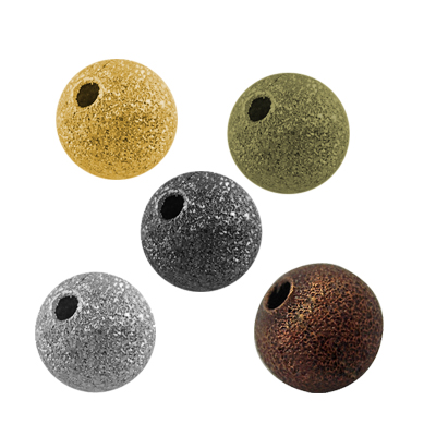 Brass Stardust Beads, Round, Mixed Color, 4mm, Hole: 1mm