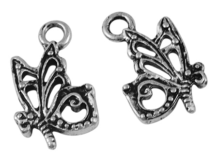 Butterfly Tibetan Style Pendant/Charm - Antique Silver - Pack of 10