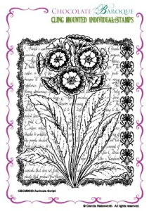 Chocolate Baroque Auricula Script Cling Mounted stamp