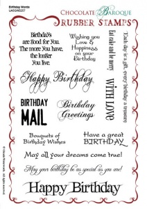 Chocolate Baroque Birthday Words Rubber Stamp