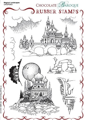 Chocolate Baroque Magical Landscapes Rubber Stamp