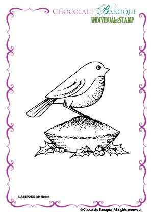 Chocolate Baroque Mr Robin Rubber Stamp