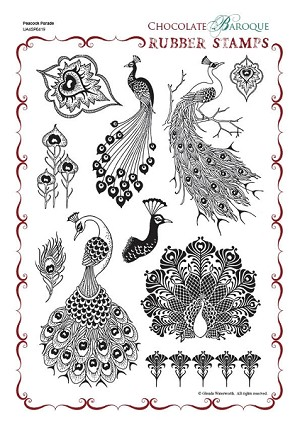 Chocolate Baroque Peacock Parade Rubber Stamp