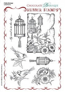 Chocolate Baroque Pretty Birdcage Rubber Stamp