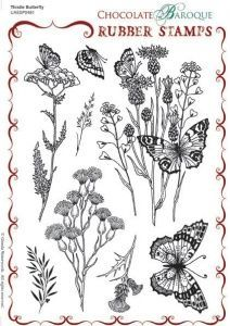 Chocolate Baroque Thistle Butterfly Rubber Stamp