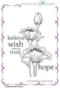 Chocolate Baroque Wish Flower Rubber Stamp