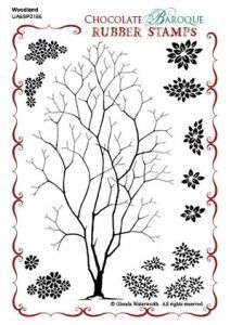 Chocolate Baroque Woodland Design a Tree Rubber Stamp