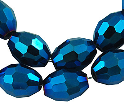 Electroplate Glass Beads Oval Rice Shape with AB plate - 4x6mm (35 beads) - Blue Plated