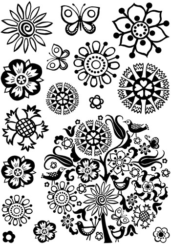 Floral Circle Crafty Individuals Stamp (CI-293)