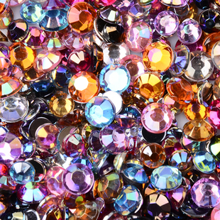 Glass Faceted Rhinestone Flat Round Beads, Grade A (2.8mm) - approx 50 - Mixed Colours