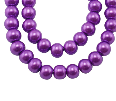 Glass Pearl Beads Magenta 10mm