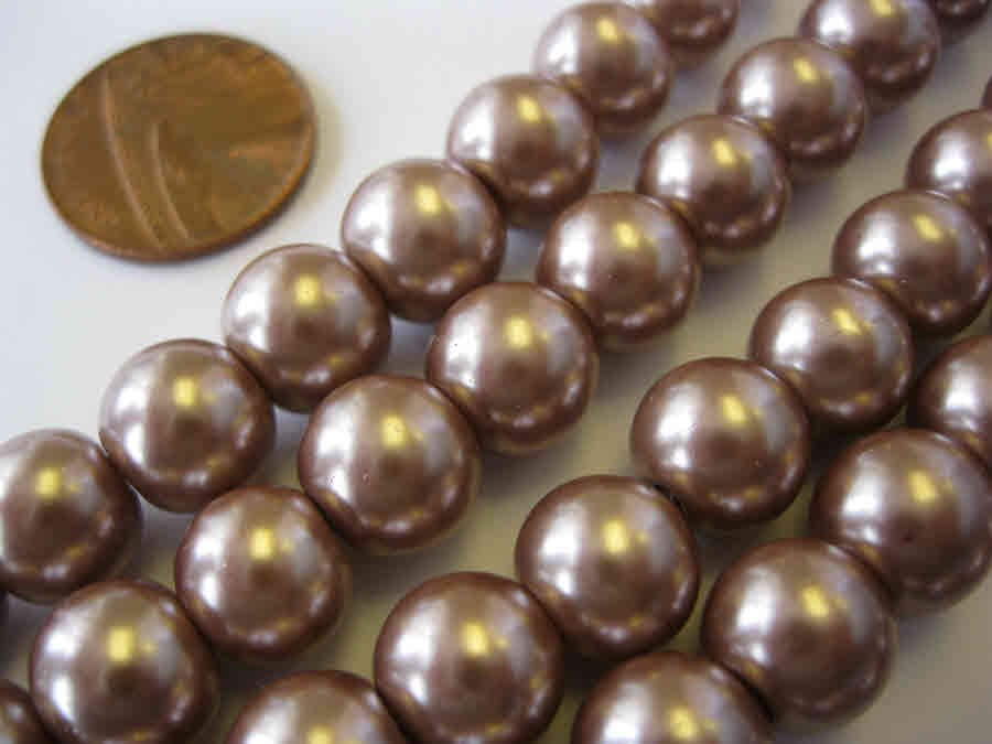 Glass Pearl Beads Mink Brown 10mm