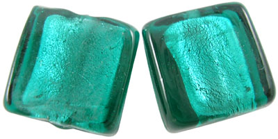 Handmade Silver Foil Glass Square Beads - 12x12mm -  Dark Cyan - Pack of 10 beads