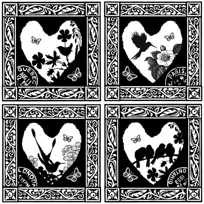 Hearts with Birds Crafty Individuals Retired Stamp (CI-201)