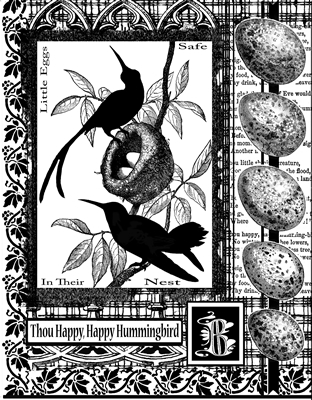 Hummingbirds Collage Crafty Individuals Stamp (CI-205)