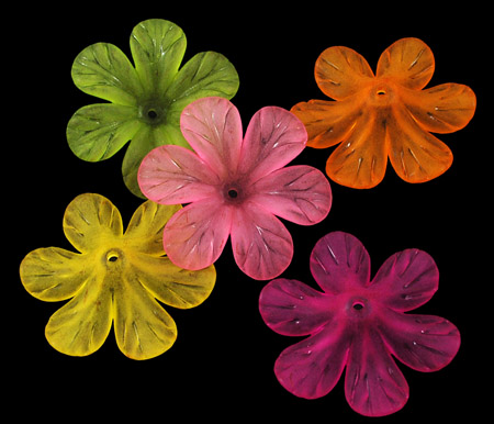 Lucite (Acrylic) Flowers - Mixed Colours - Open 6 petal Flower (30mm) - 20g