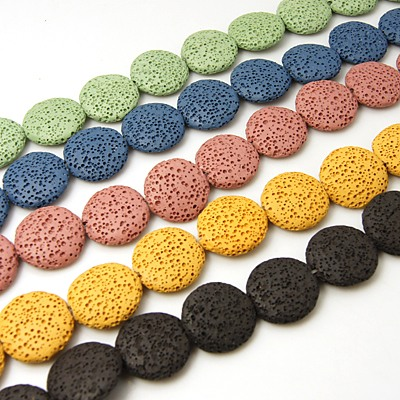 Synthetic Dyed Lava Beads - Flat Round - 21x6mm (9 beads) Random Colour Choice