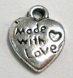"Tibetan Silver Heart Pendant/Charm ""Made with love"" - Pack of 10"