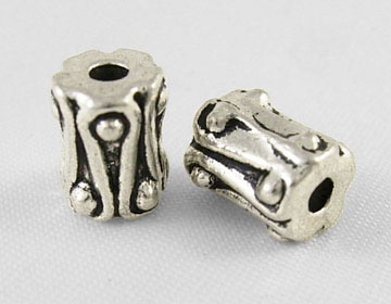 Tibetan Style Beads, Column Shape - Antique Silver, about 6.5mm long, 6mm wide (20 beads)