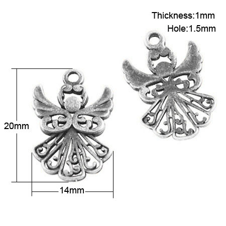 Tibetan Style Charms - Angel - Pack of 5