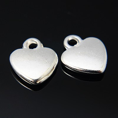 Tibetan Style Charms - Silver Heart - Pack of 10