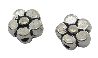 Tibetan Style Flower Beads - Antique Silver (50)