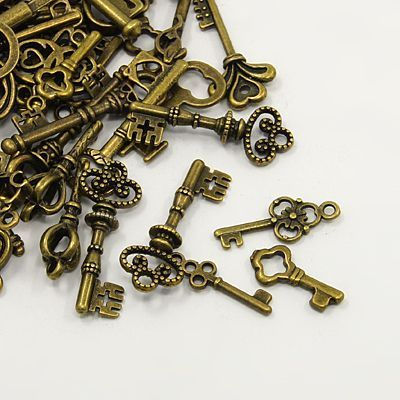 Assorted Antique Bronze Key Charms (20g)