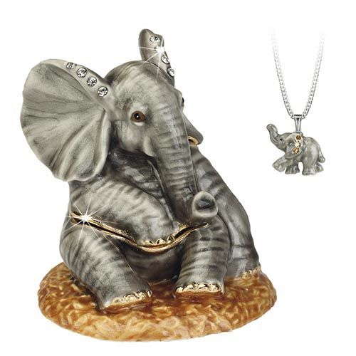 Baby Elephant Trinket Box and Necklace