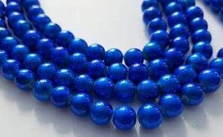 Baking Painted Drawbench Glass 8mm Round Beads (25) - Royal Blue
