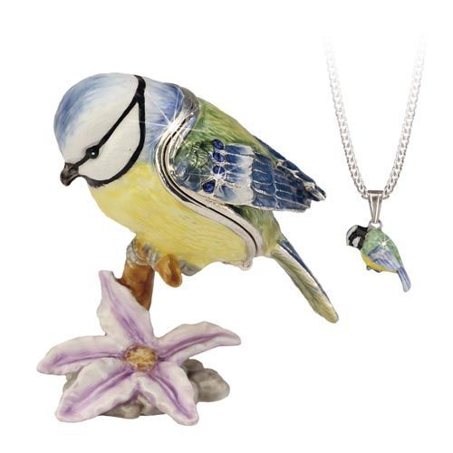 Blue Tit Trinket Box and Necklace