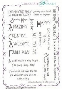 Chocolate Baroque Amazing Mackintosh Words Rubber Stamp
