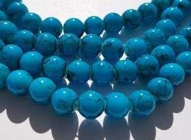 Drawbench Round 8mm Black Flecked Glass Bead Strand - Turquoise (25)