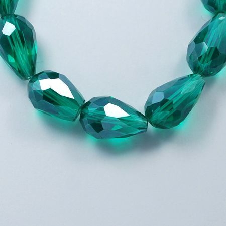 Electroplate Glass Drops - Teal (14)
