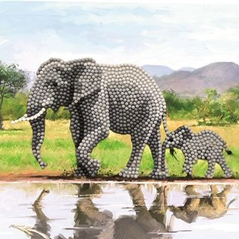 Elephant Crystal Art Card Kit