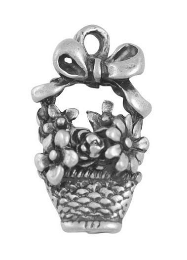 Flower Basket Charms antique silver (pack of 5)
