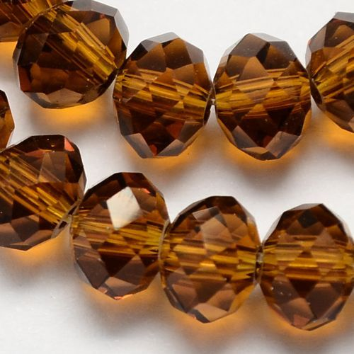Glass Rondelle 6x4mm Brown (19)