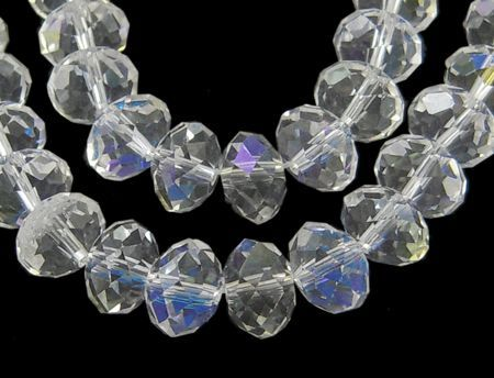 Glass Rondelle 6x4mm Lustre Clear (19)