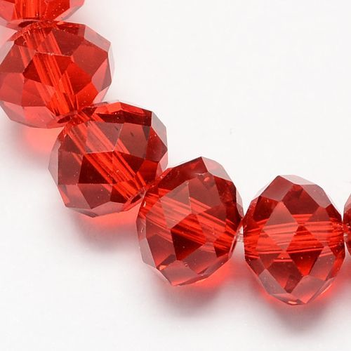 Glass Rondelle 6x4mm Red (19)