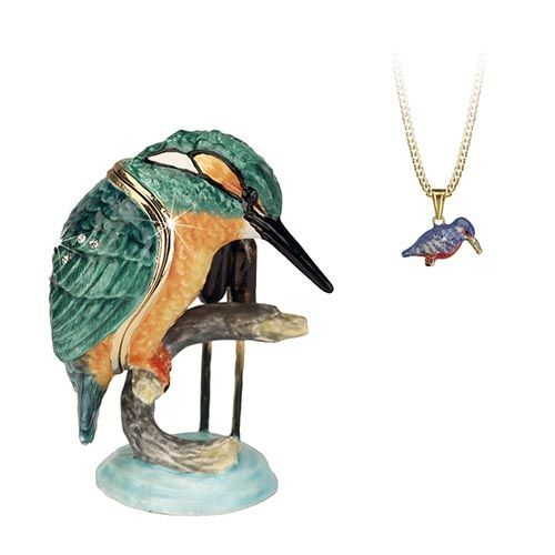 Kingfisher Trinket Box and Necklace