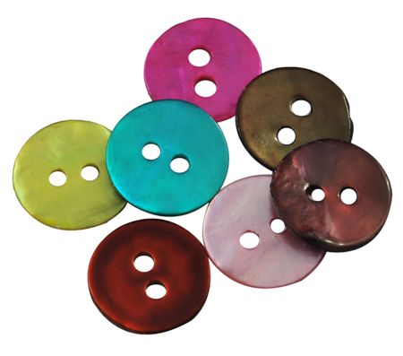 Mother of Pearl round button mixed colours (pack of 20)