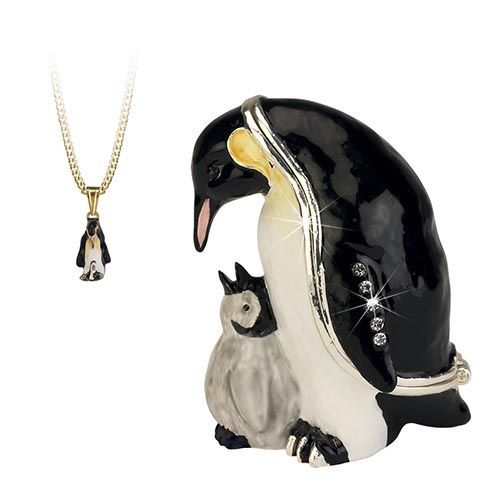 Penguin Trinket Box and Necklace