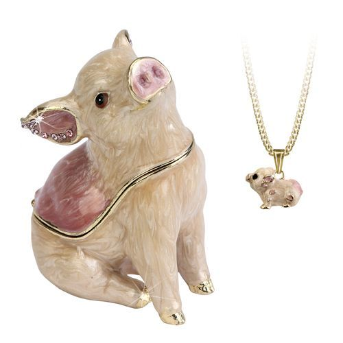 Pig Trinket Box and Necklace